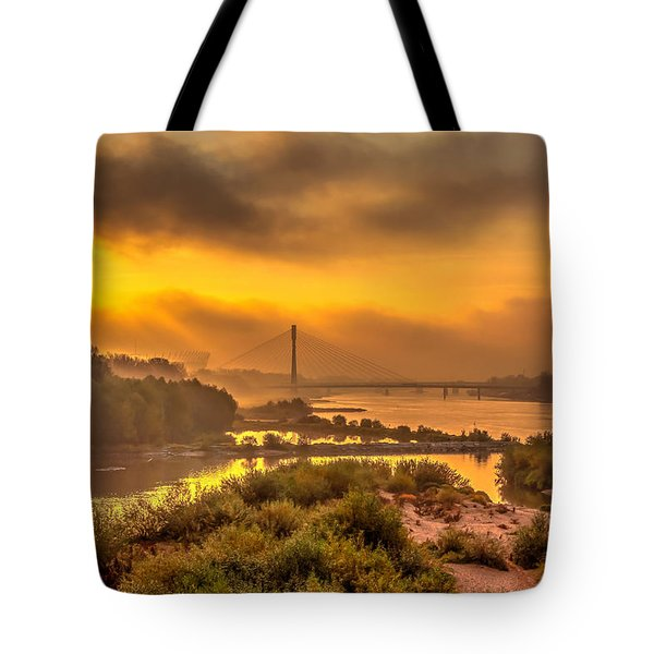 Sunrise Over Swiatokrzyski Bridge In Warsaw Tote Bag