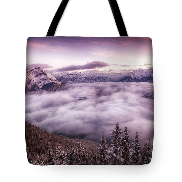 Sunrise Over The Canadian Rockies Tote Bag by Diane Dugas