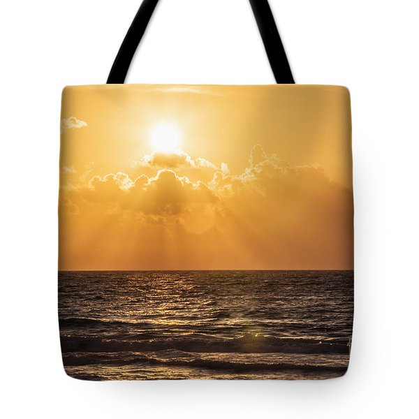 Sunrise Over The Caribbean Sea Tote Bag