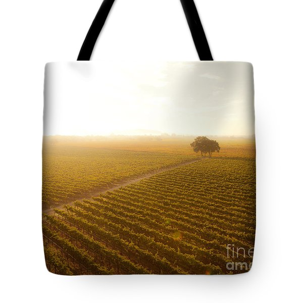 Sunrise Over The Vineyard Tote Bag by Diane Diederich