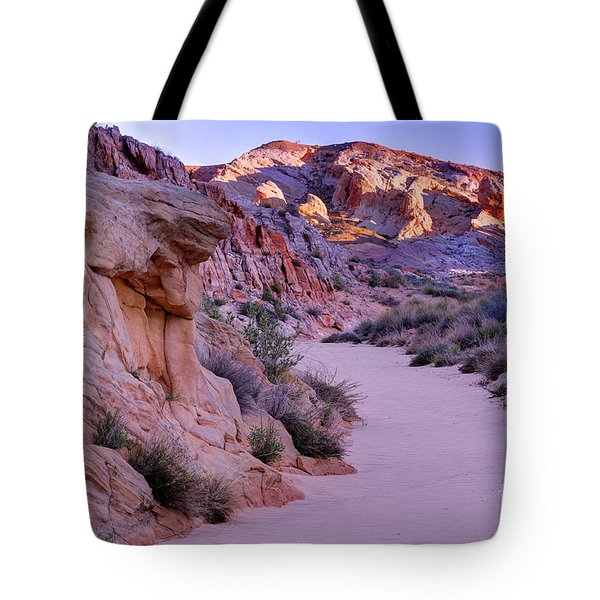 Sunrise Over Valley Of Fire Wash - Nevada Tote Bag
