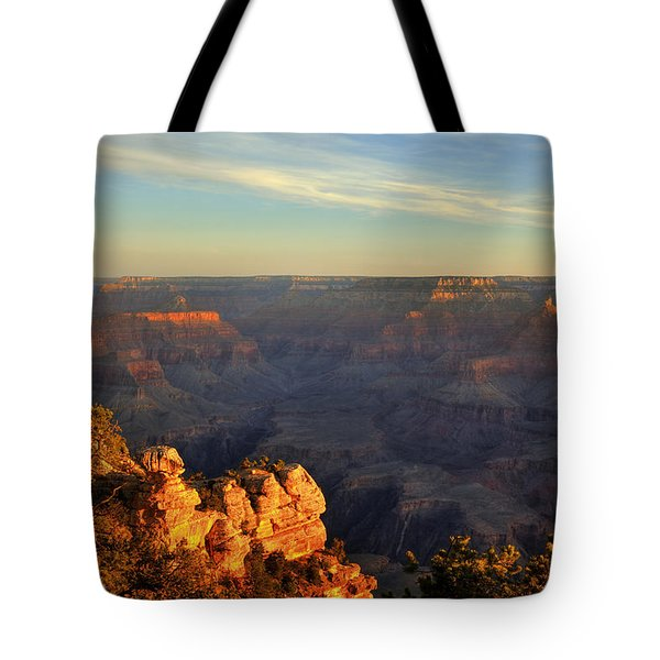 Tote Bag featuring the photograph Sunrise Over Yaki Point At The Grand Canyon by Alan Vance Ley