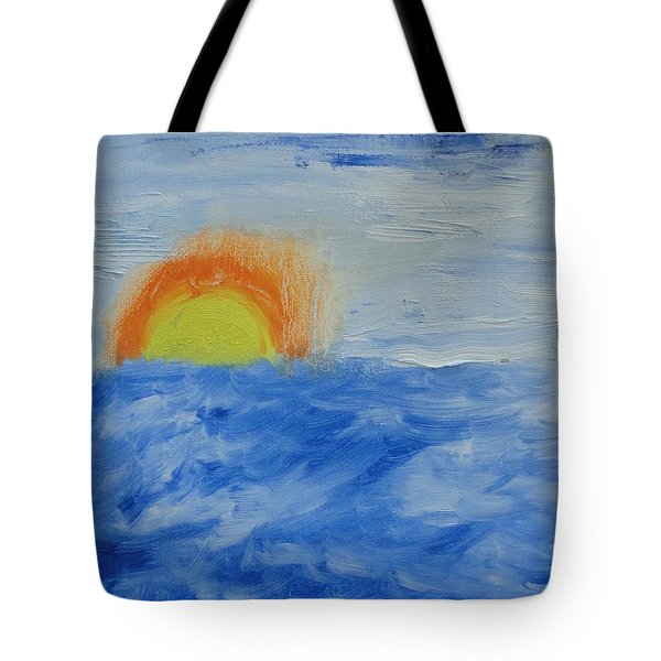 Tote Bag featuring the painting Sunrise by PainterArtist FINs daughter