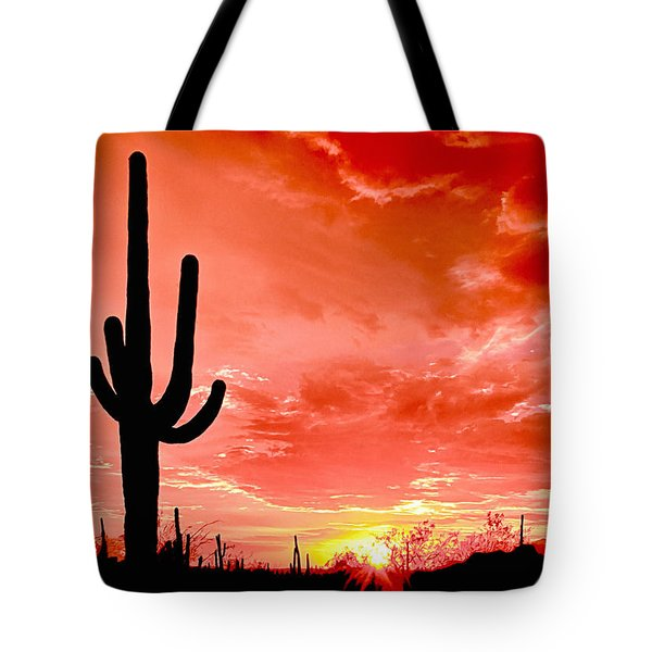 Sunrise Saguaro National Park Tote Bag