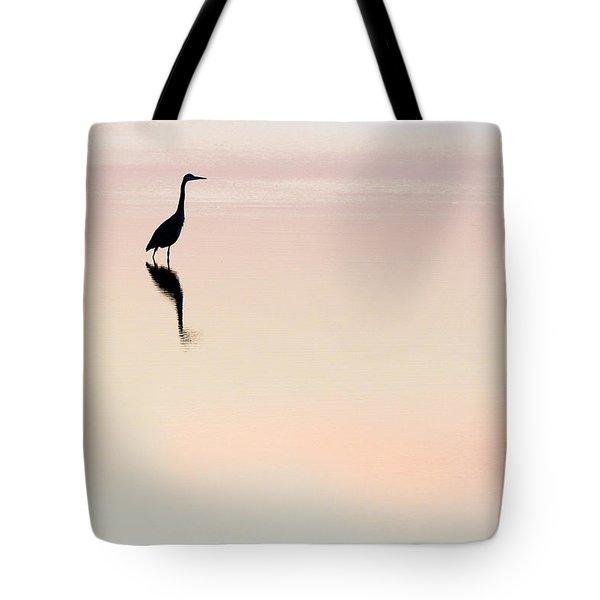 Sunrise Silhouette - Great Egret On Lake Mattamuskeet Tote Bag
