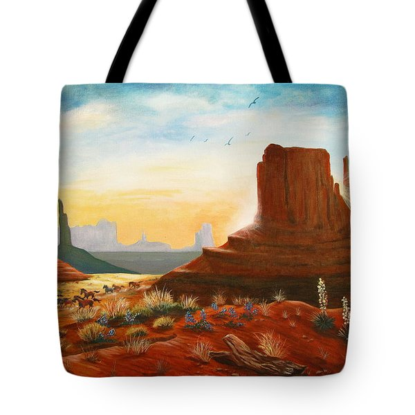 Sunrise Stampede Tote Bag by Marilyn Smith