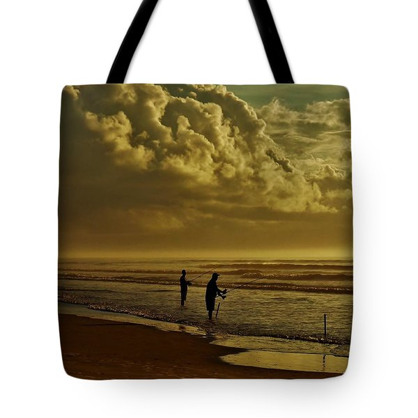 Tote Bag featuring the photograph Sunrise Surf Fishing by Ed Sweeney