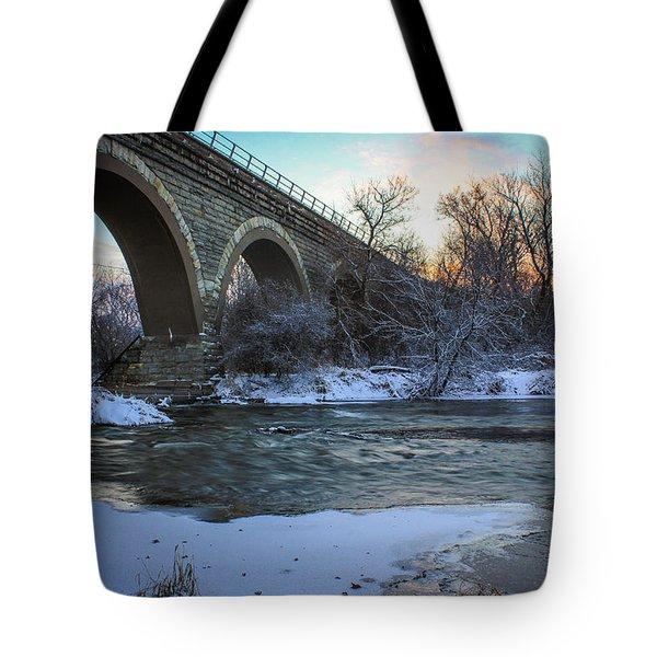 Sunrise Under The Bridge Tote Bag