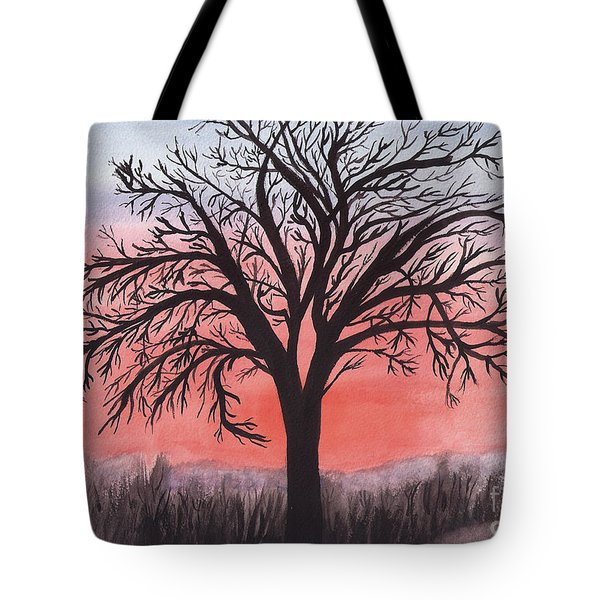 November Sunrise Walnut Tree Watercolor Tote Bag