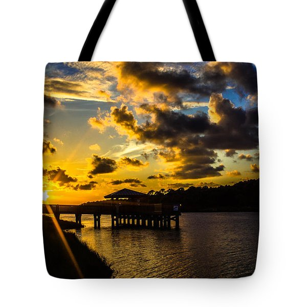 Tote Bag featuring the photograph Sunscaped Pier by Tyson Kinnison
