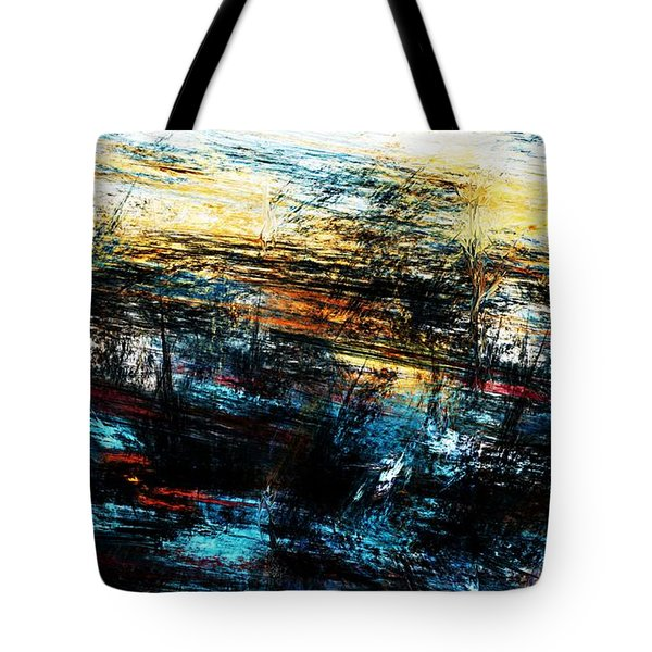 Tote Bag featuring the digital art Sunset 083014 by David Lane