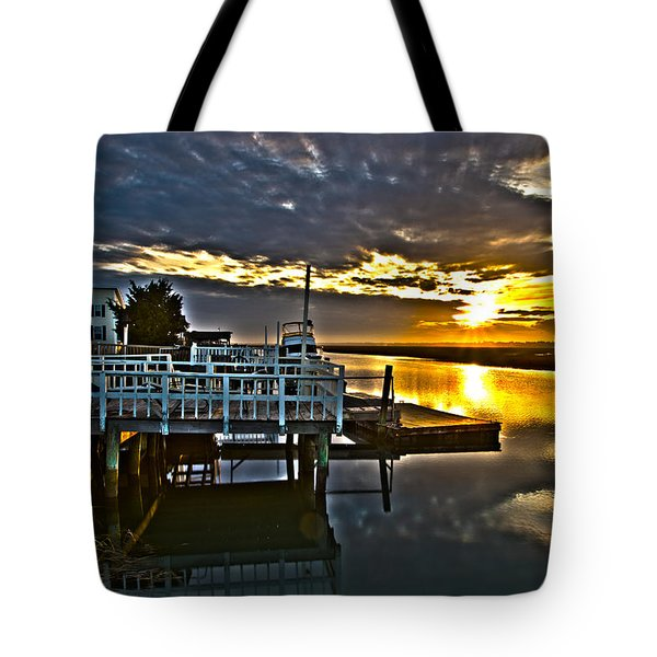 Sunset Across The Inlet Tote Bag