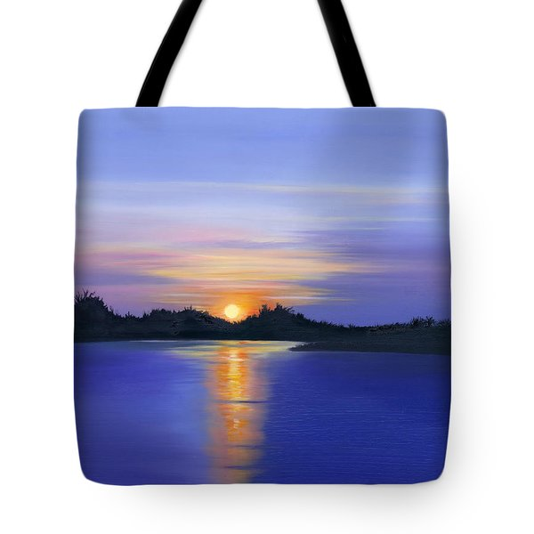 Tote Bag featuring the painting Sunset Across The River by Elizabeth Lock