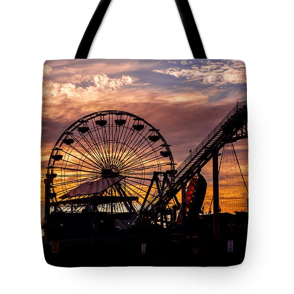 Sunset Amusement Park Farris Wheel On The Pier Fine Art Photography Print Tote Bag by Jerry Cowart