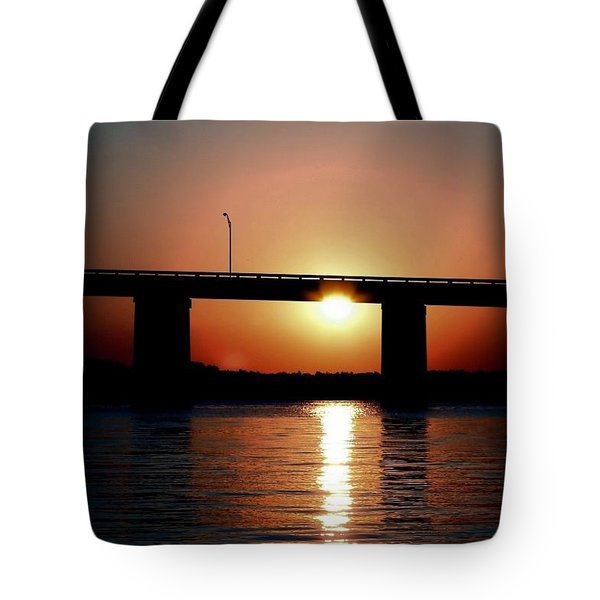 Tote Bag featuring the photograph Sunset And Bridge by Debra Forand