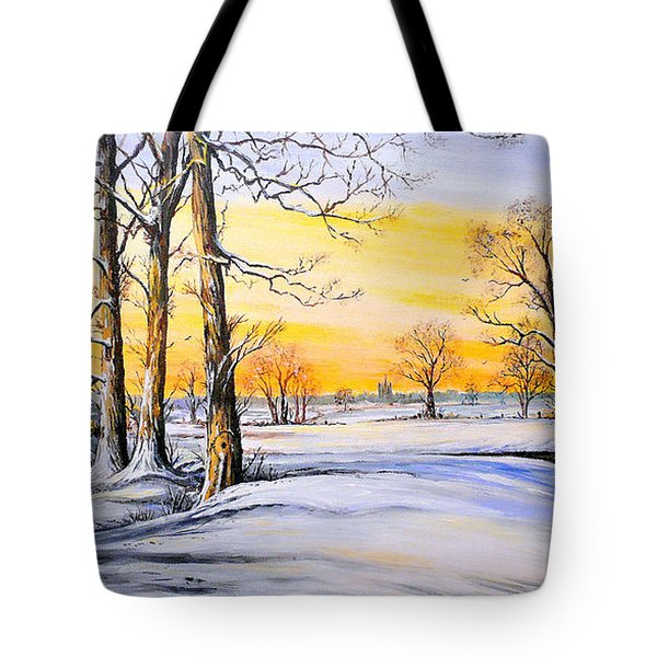 Sunset And Snow Tote Bag by Andrew Read