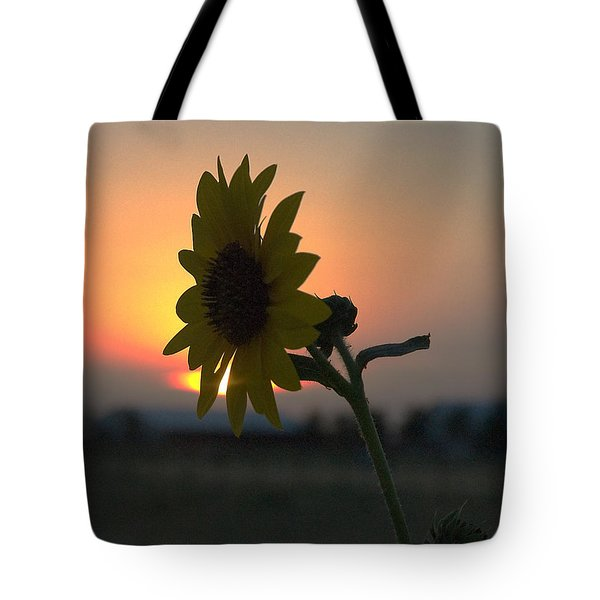 Tote Bag featuring the photograph Sunset And Sunflower by Mae Wertz