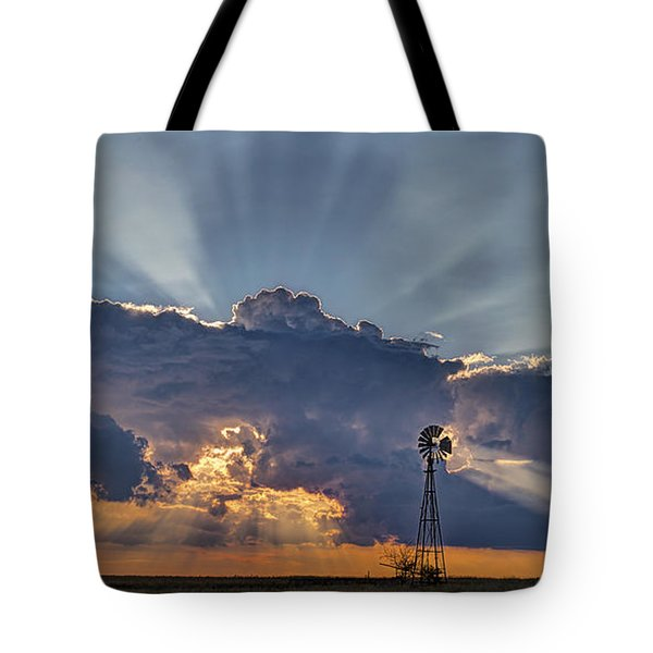 Tote Bag featuring the photograph Sunset And Windmill by Rob Graham