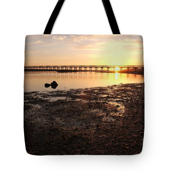 Sunset And Wooden Bridge In Ludo Tote Bag