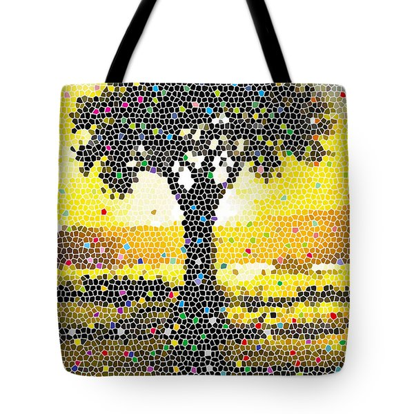 Tote Bag featuring the painting Sunset Beauty by Anthony Mwangi