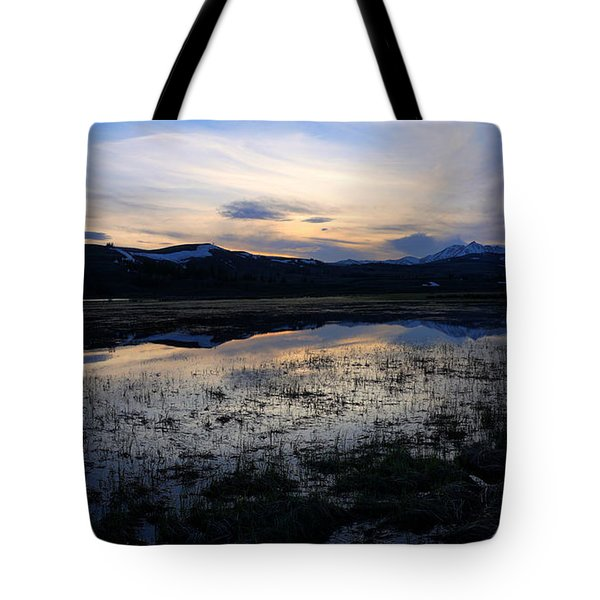 Sunset At A Lake Near Mammoth In Yellowstone Tote Bag