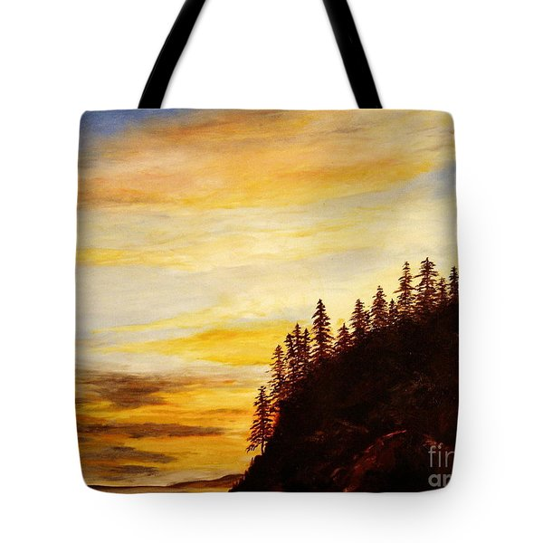 Tote Bag featuring the painting Sunset At Bass Harbor by Lee Piper