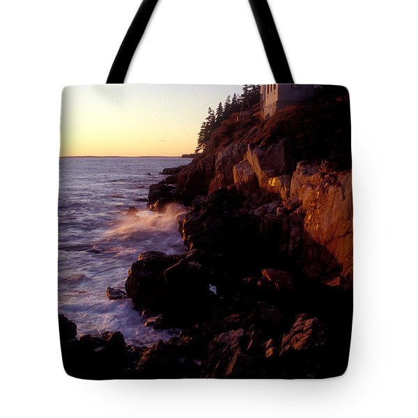 Sunset At Bass Harbor Lighthouse Tote Bag by Brent L Ander