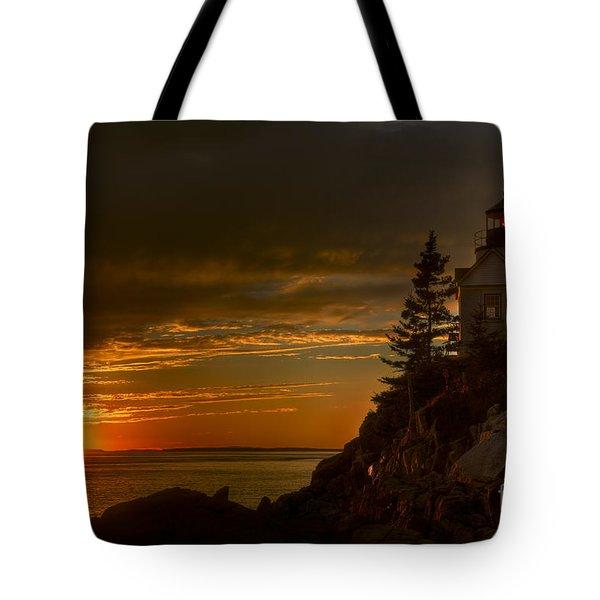 Sunset At Bass Harbor Lighthouse Tote Bag by Oscar Gutierrez