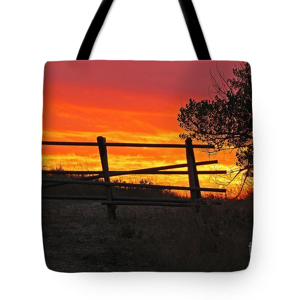 Tote Bag featuring the photograph Sunset At Bear Butte by Mary Carol Story