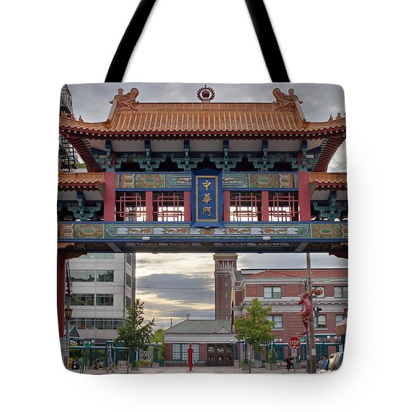Tote Bag featuring the photograph Sunset At Chinatown Gate In Seattle Washington by JPLDesigns