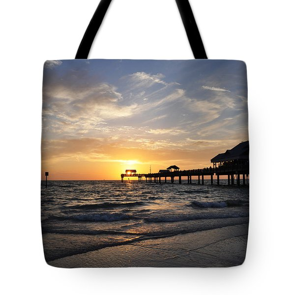 Sunset At Clearwater Tote Bag by Bill Cannon