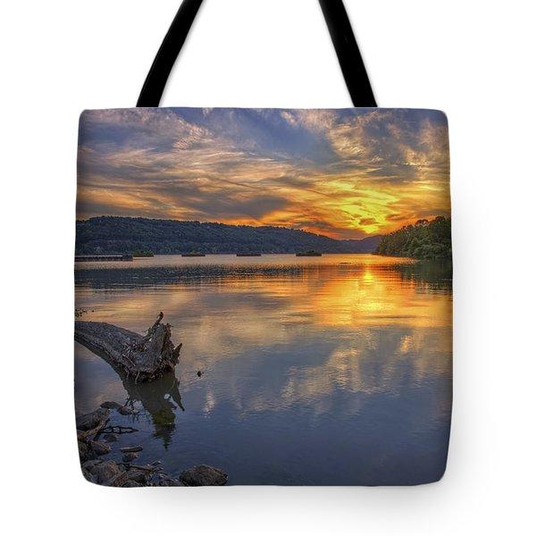 Sunset At Cook's Landing - Arkansas River Tote Bag