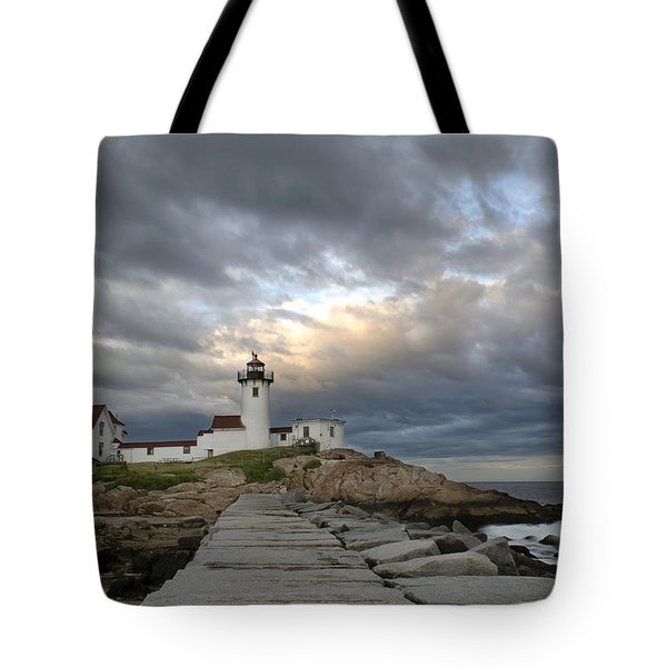 Sunset At Eastern Point Lighthouse Tote Bag