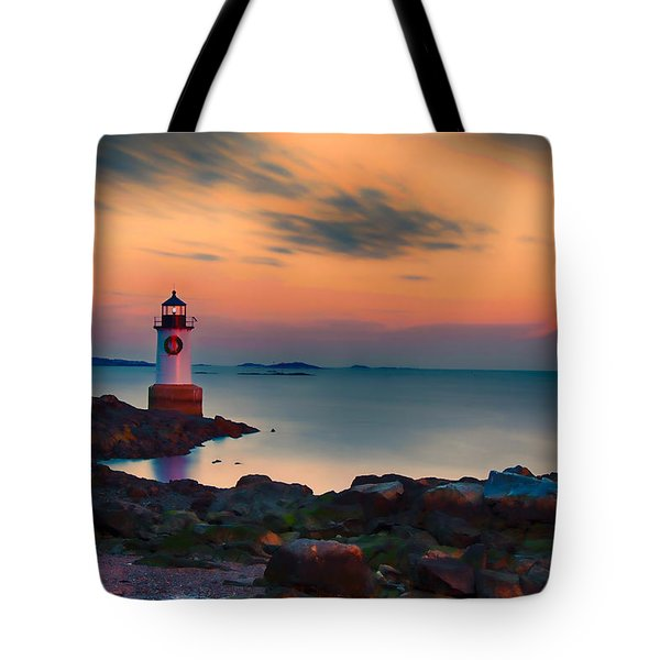 Sunset At Fort Pickering Lighthouse Tote Bag by Jeff Folger