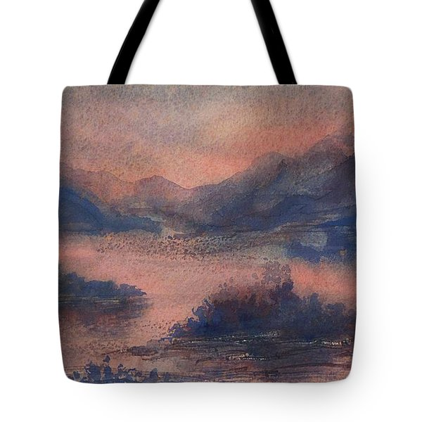 Tote Bag featuring the painting Sunset At Lake Champlain by Joy Nichols