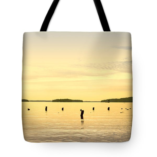 Tote Bag featuring the photograph Sunset At Lake Muskoka by Les Palenik