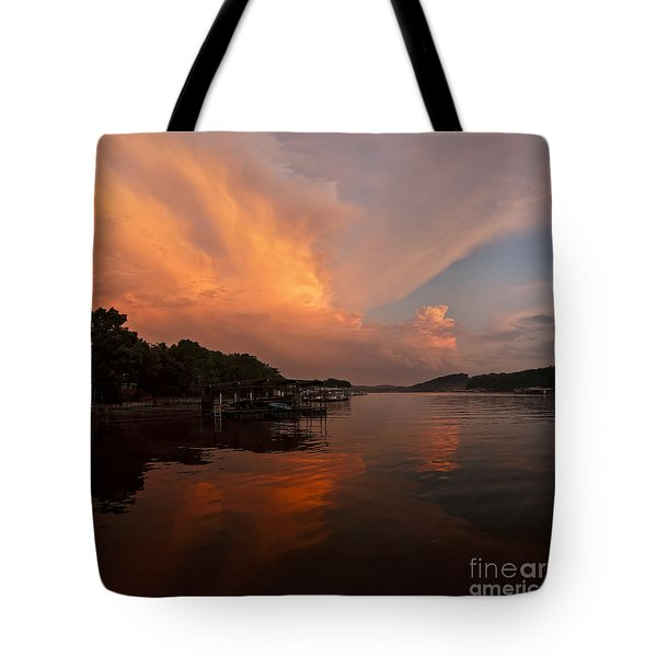 Sunset At Lake Of The Ozarks Tote Bag by Dennis Hedberg