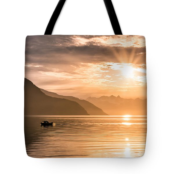 Sunset At Lyngenfjord Tote Bag by Janne Mankinen