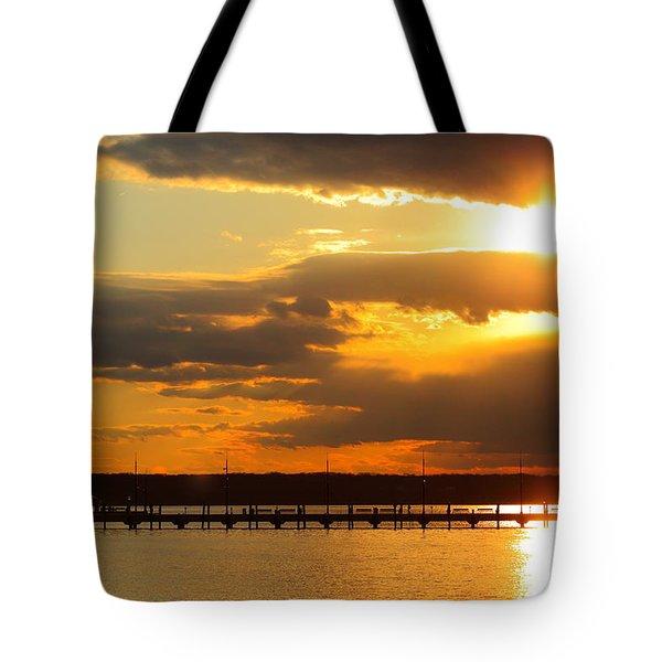 Sunset At National Harbor Tote Bag