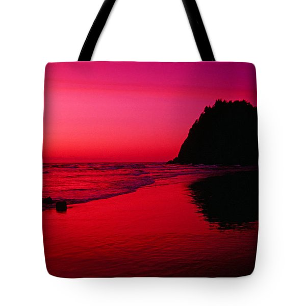 Sunset At Neskowin Beach- Proposal Rock Tote Bag