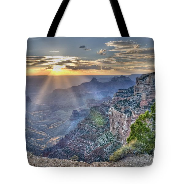 Sunset At Northern Rim Of The Grand Canyon Tote Bag by Wanda Krack