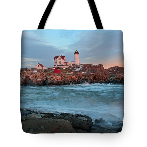 Sunset At Nubble Lighthouse Tote Bag