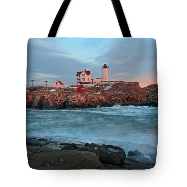 Sunset At Nubble Lighthouse Tote Bag by Sharon Seaward