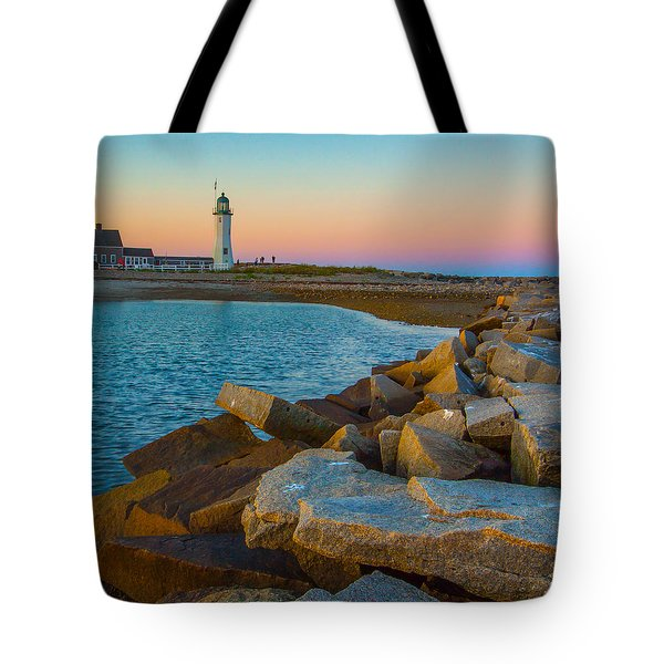 Sunset At Old Scituate Lighthouse Tote Bag