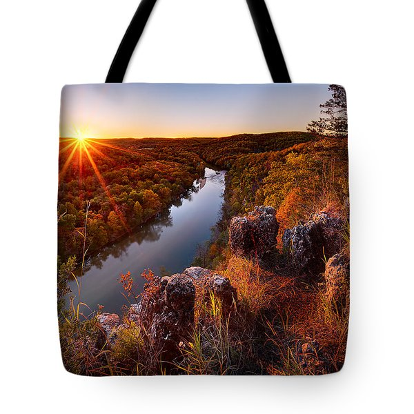 Sunset At Paint-rock Bluff Tote Bag
