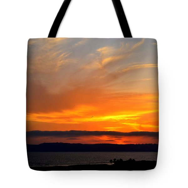 Sunset At Point Loma From Coronado California Tote Bag