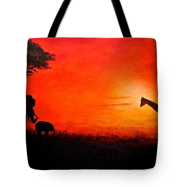 Sunset At Serengeti Tote Bag