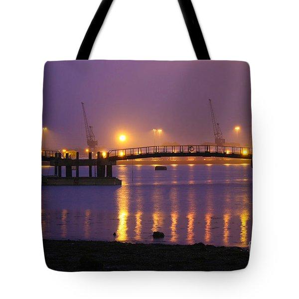 Sunset At Southampton Docks Tote Bag by Terri Waters