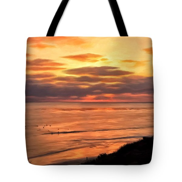 Tote Bag featuring the painting Sunset At Swami's Encinitas by Michael Pickett
