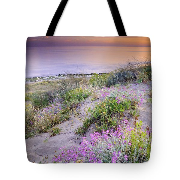 Sunset At The Beach  Flowers On The Sand Tote Bag by Guido Montanes Castillo
